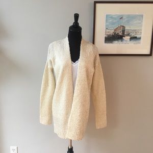 Kaisely Chunky Knit Open Cardigan Ivory Gold Fleck